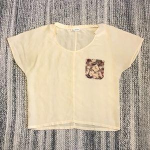 CLUB MONACO Cream/Floral Silk T-shirt Blouse XS